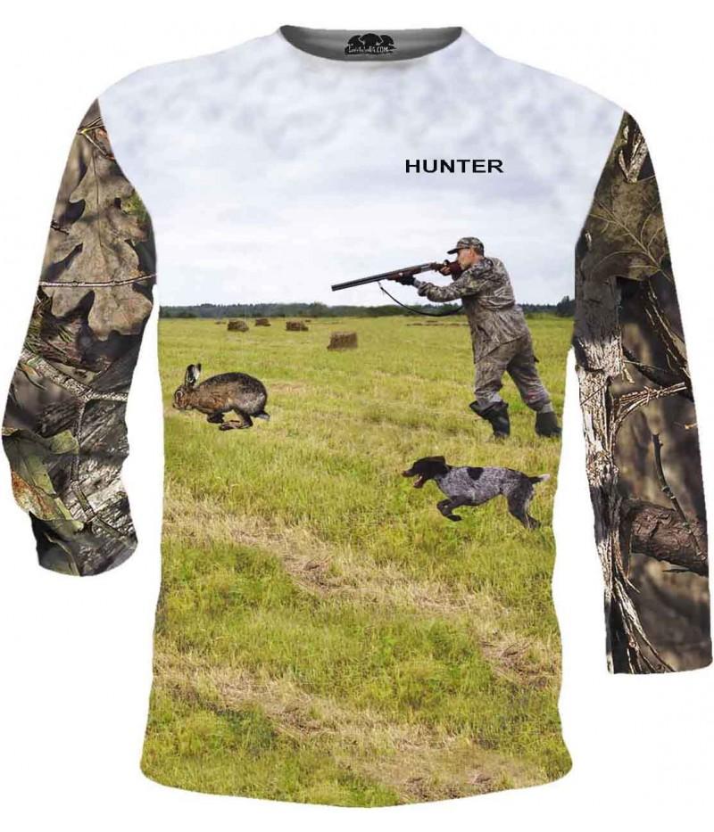 Тениска със стрелящ ловец по заек - дълги ръкави
