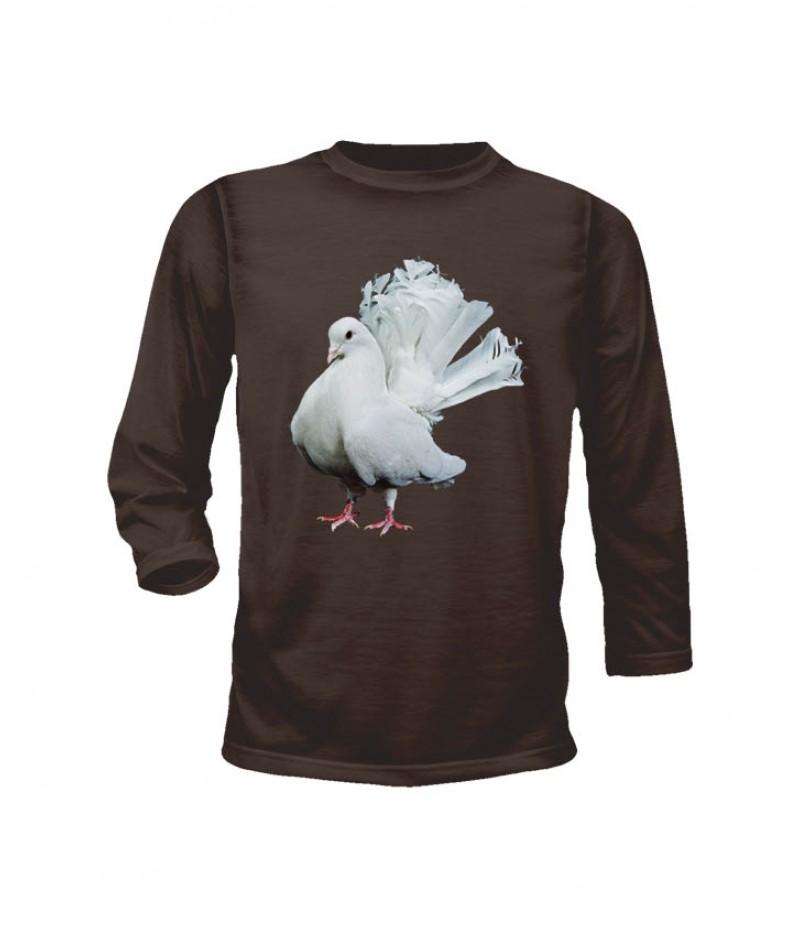 Тениска с гълъб - 2 - дълги ръкави