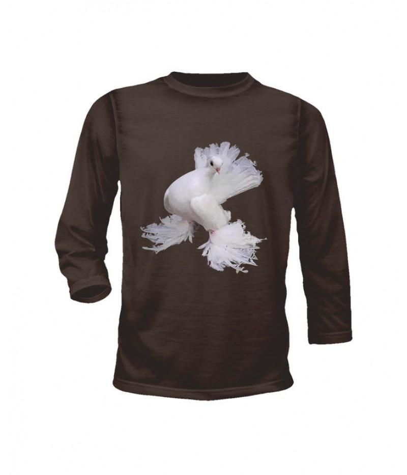 Тениска с гълъб - 3 - дълги ръкави