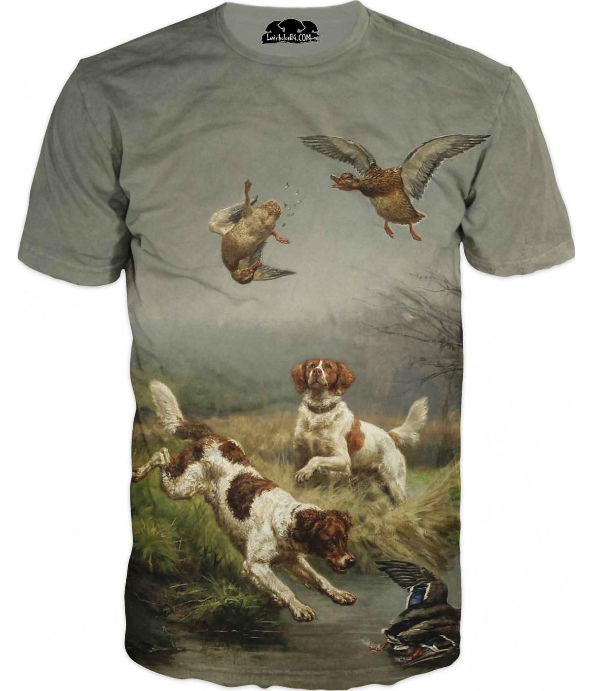 Ловна тениска с кучета и патици - арт