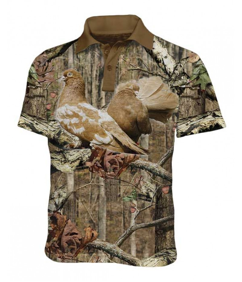 Mъжка ловна тениска с яка - Гълъби