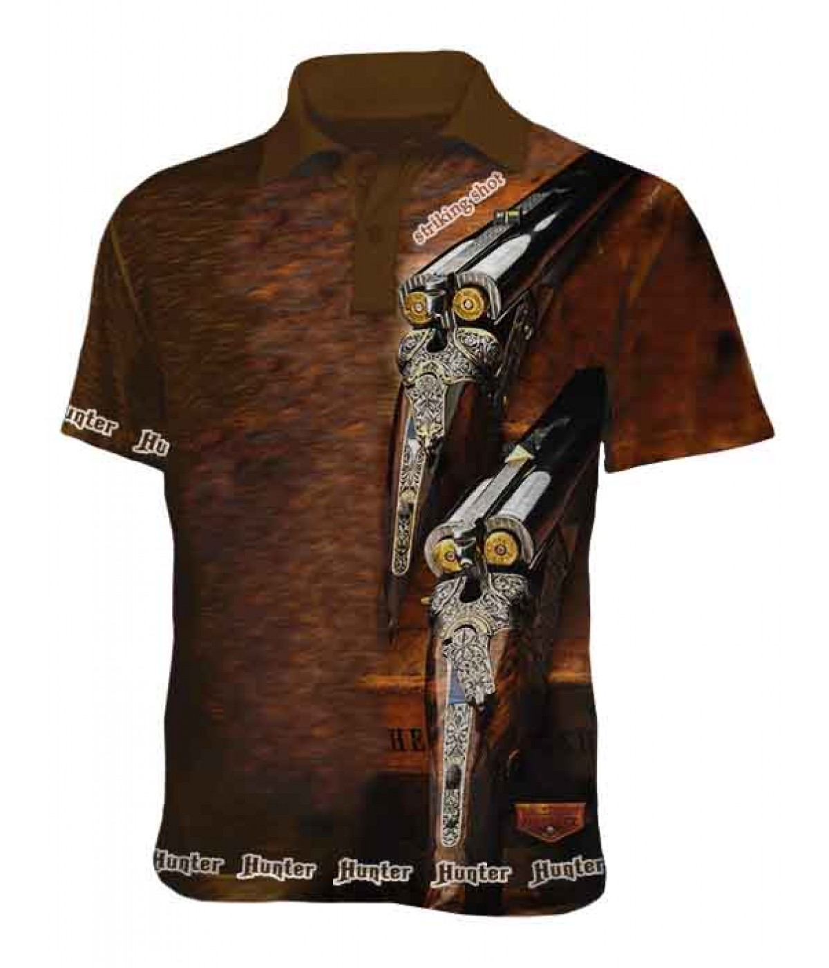 Mъжка ловна тениска с яка - Пушки