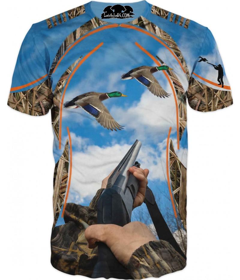 Ловна тениска - ловец и патица