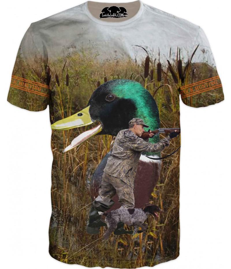 Ловна тениска на ловец, куче и патица в камуфлаж
