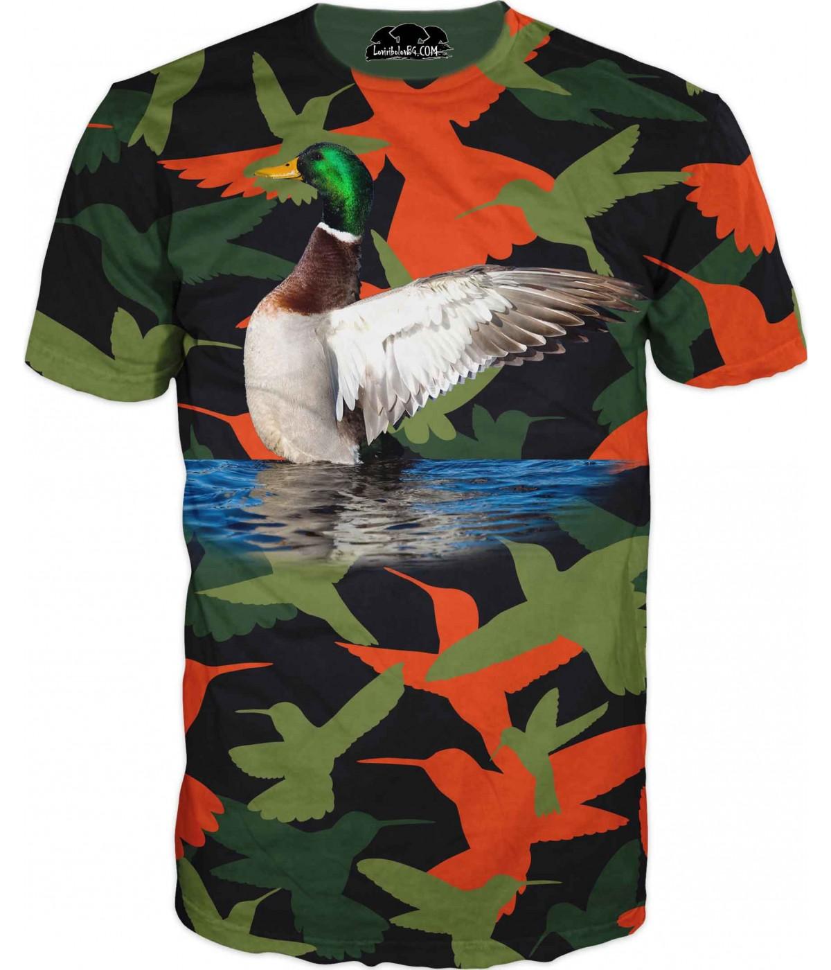 Ловна тениска - зеленоглава патица в камуфлаж - чеврен