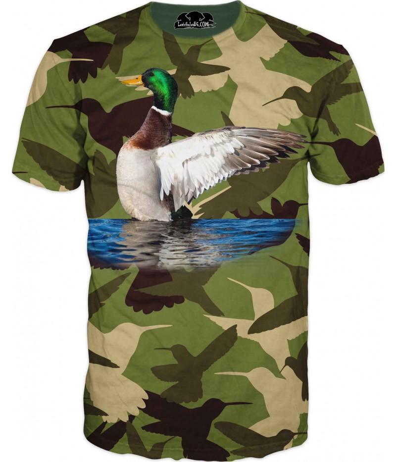 Ловна тениска - зеленоглава патица в камуфлаж - зелен