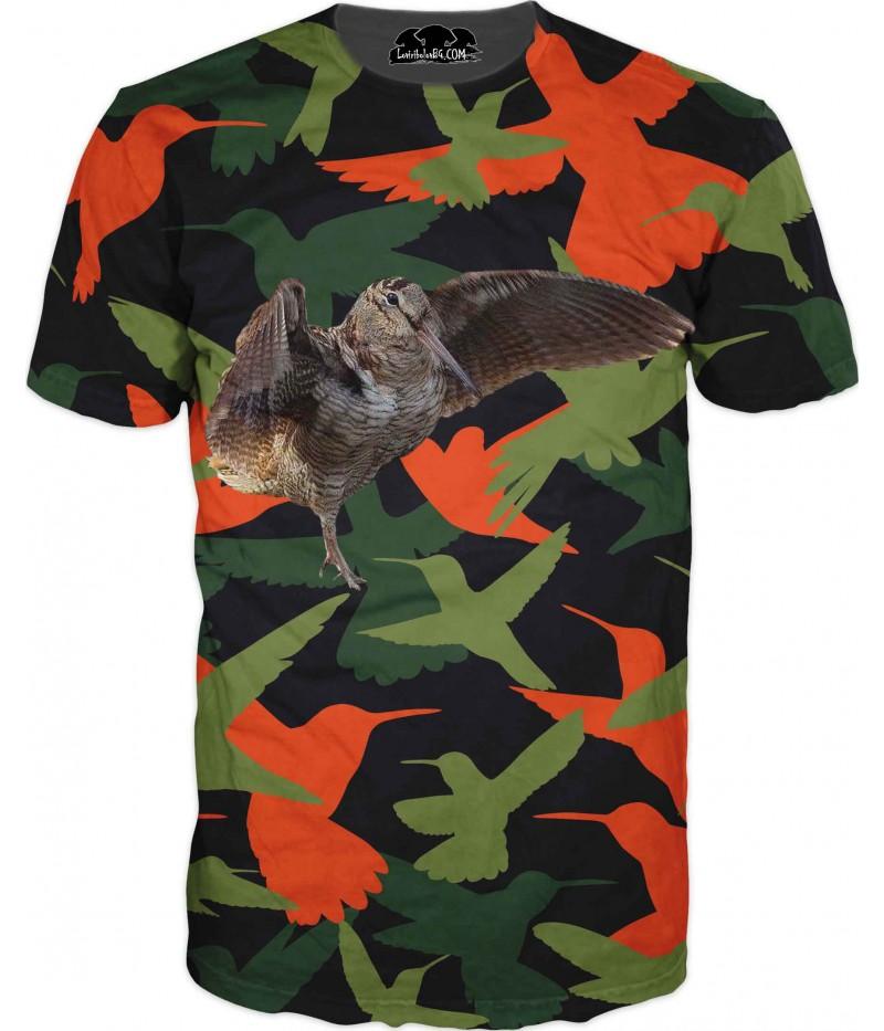 Ловна тениска - бекас с разперени криле в камуфлаж
