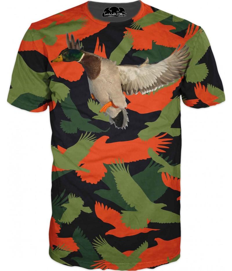 Ловна тениска - летяща патица в камуфлаж