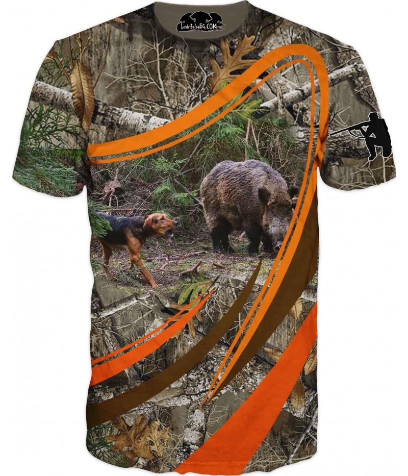 Горска ловна тениска с глиган и куче