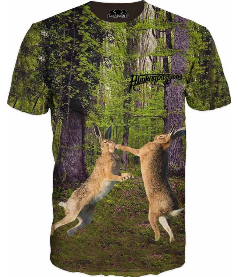 Тениска с биещи се зайци