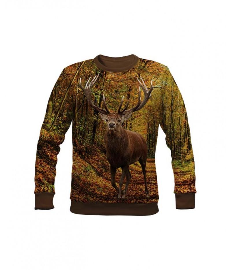 Ловна ватирана блуза с елен в гората