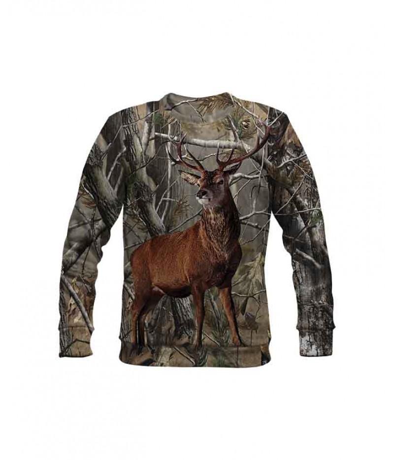 Ловна ватирана блуза с елен и камуфлаж