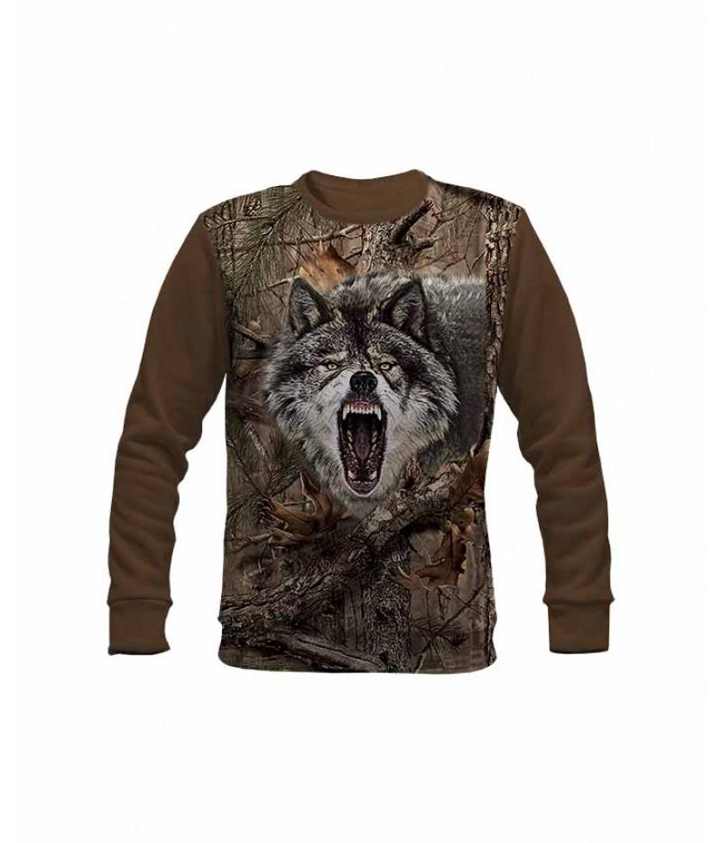 Ловна ватирана блуза с вълк