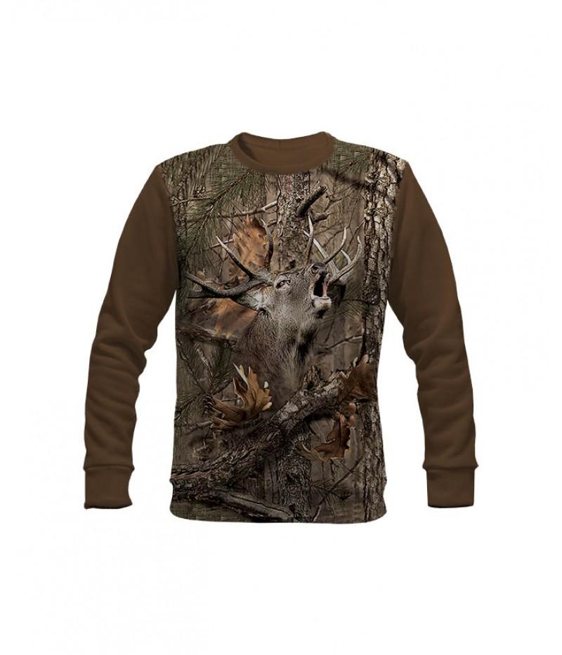 Ловна ватирана блуза със зеещ елен