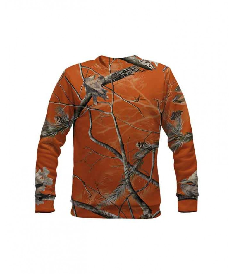 Ловна ватирана блуза с оранжев камуфлаж