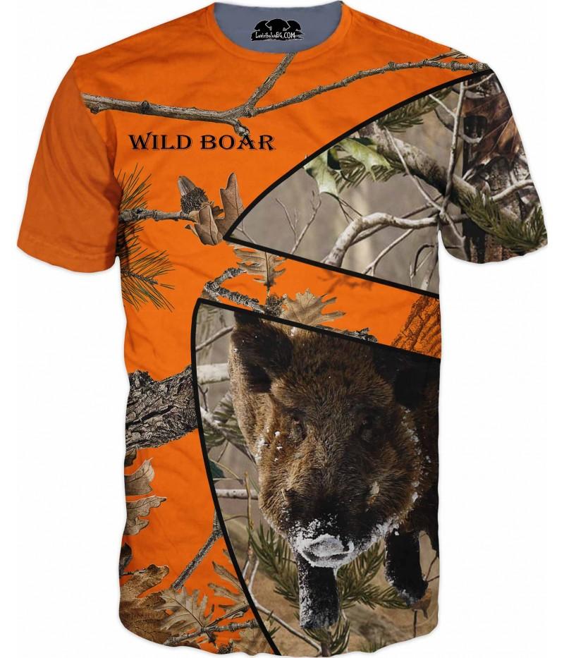 Ловна тениска - Диво прасе - оранжев камуфлаж