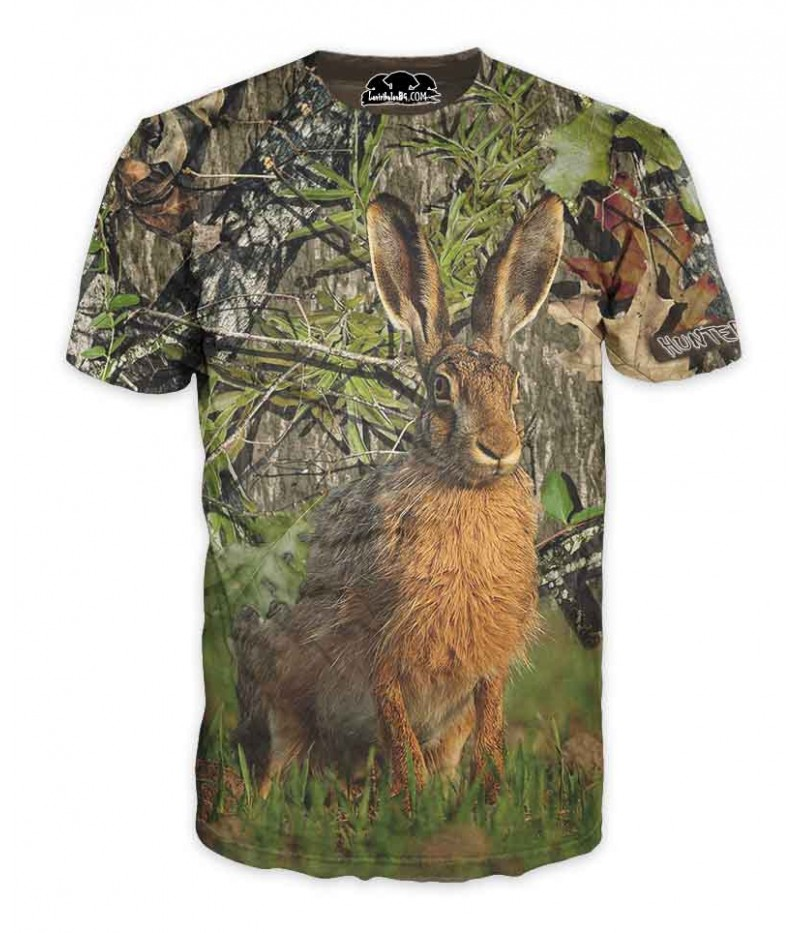 Ловна тениска със заек в камуфлаж