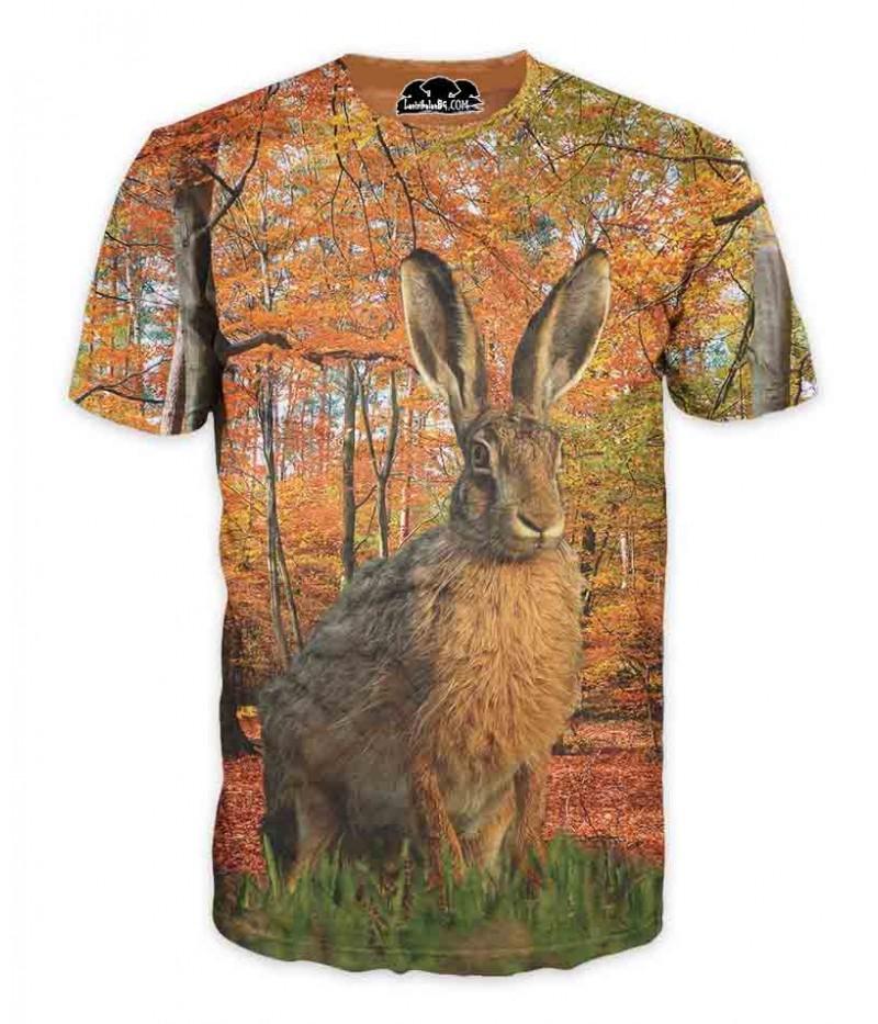 Ловна тениска със заек в камуфлаж-есен