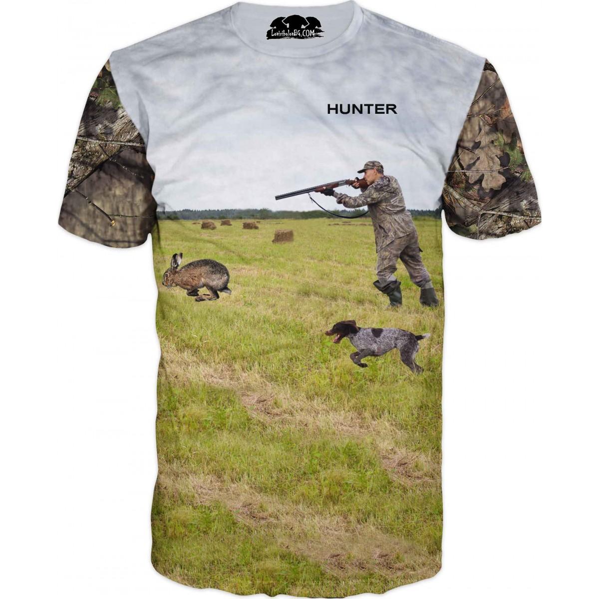 Тениска със стрелящ ловец по заек