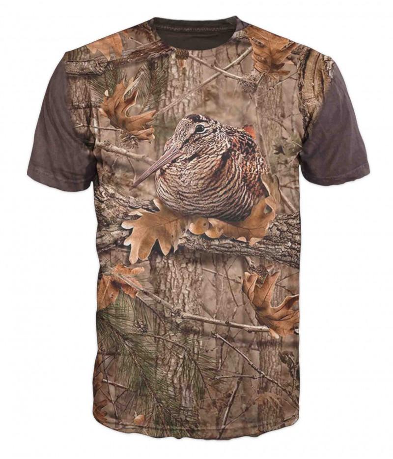 Ловна тениска с бекас и камуфлаж