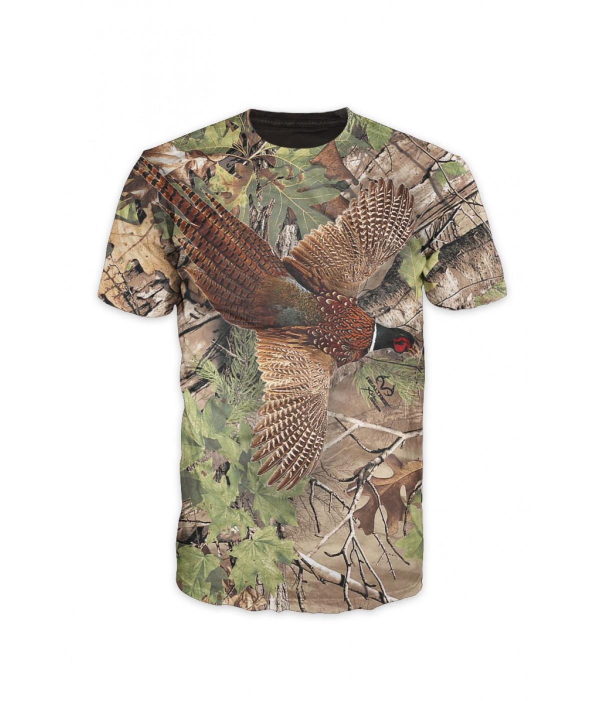 Ловна тениска с фазан и камуфлаж