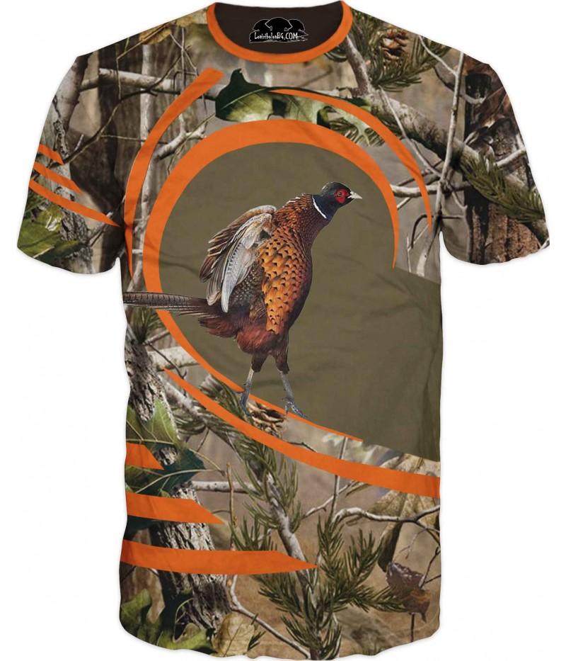 Ловна тениска с фазан на крака