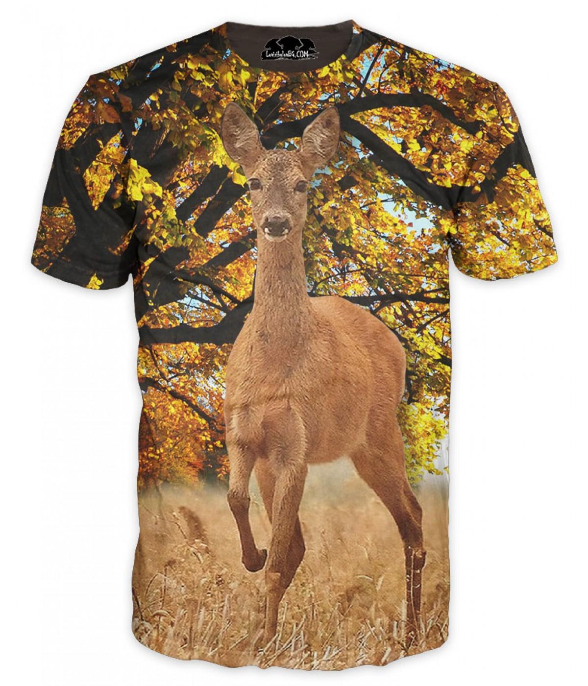Ловна камуфлажна тениска с изображение на сърна в есенна гора