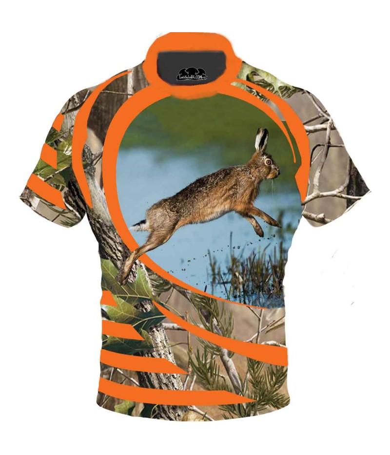 Ловна тениска с бягащ заек в камуфлаж