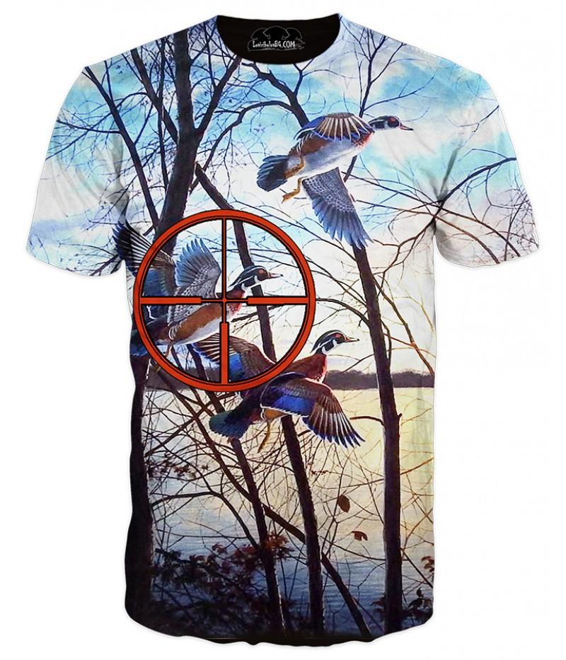 Мъжка ловна тениска с изображение на диви патици