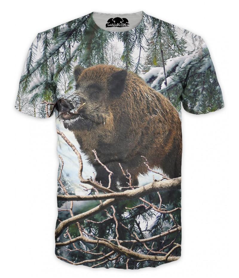 Ловна тениска с изображение на глиган в снега