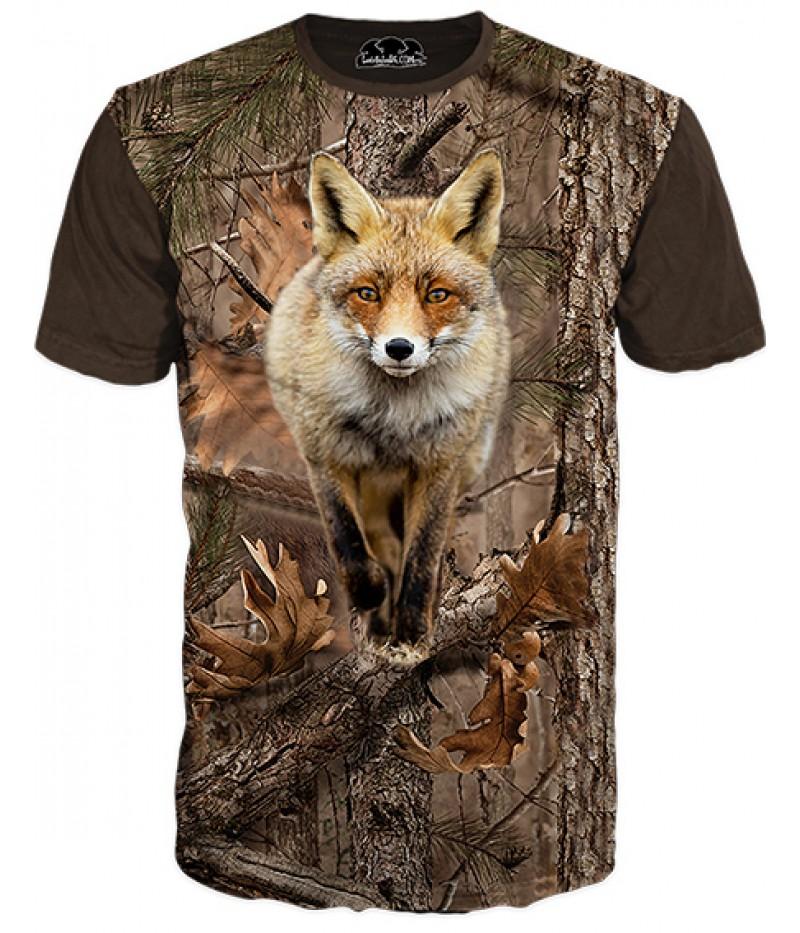 Ловна тениска с лисица и камуфлаж