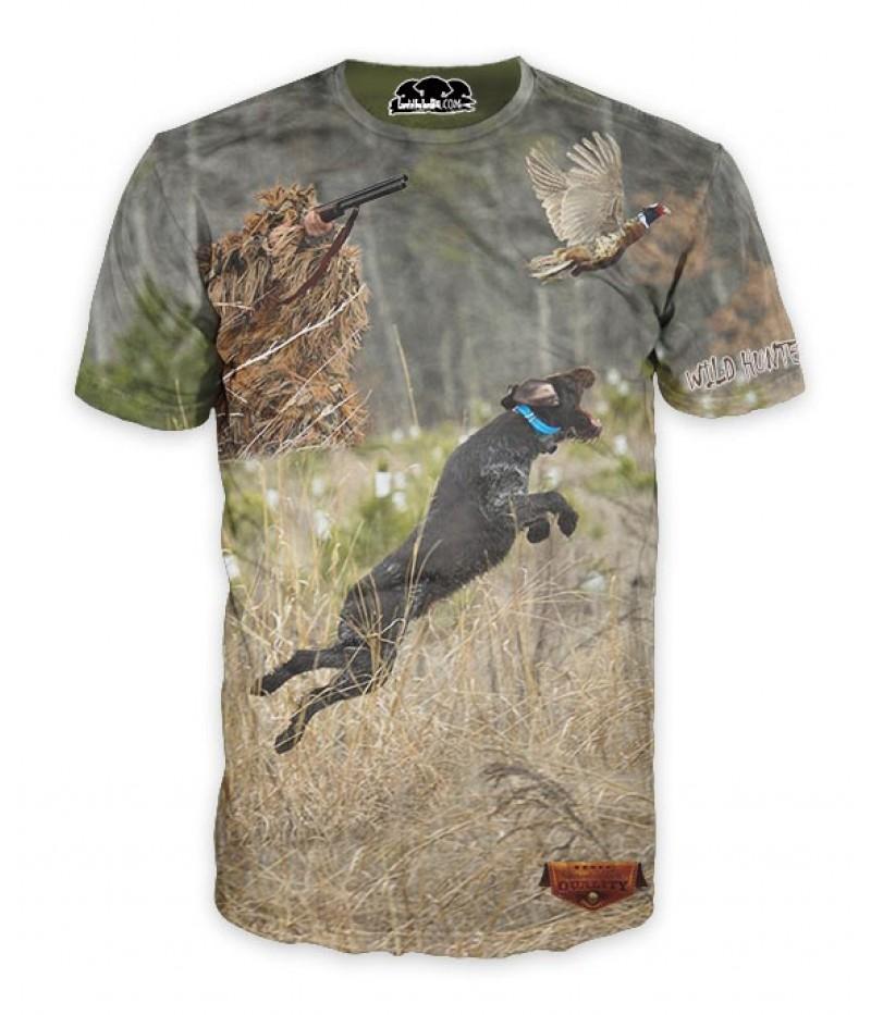Ловна тениска с ловец, куче и фазан