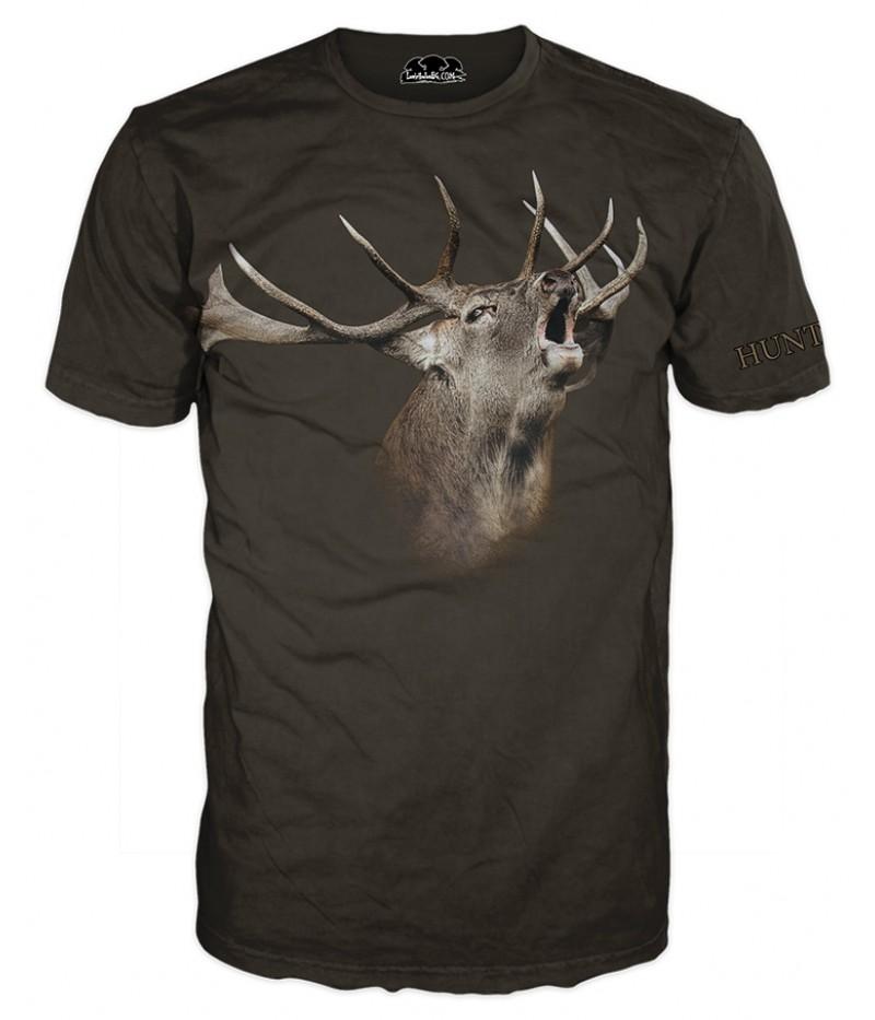 Ловна тениска със зеещ елен в кафяво