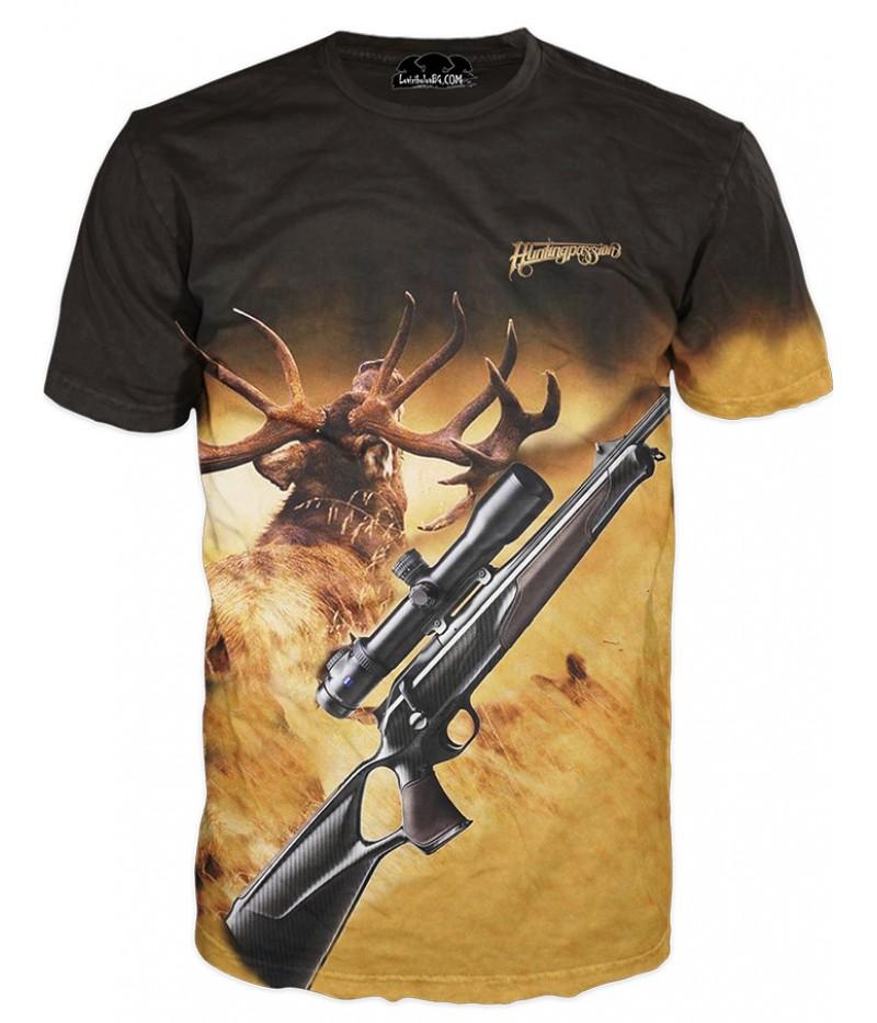 Ловна тениска с изображение на елен и пушка