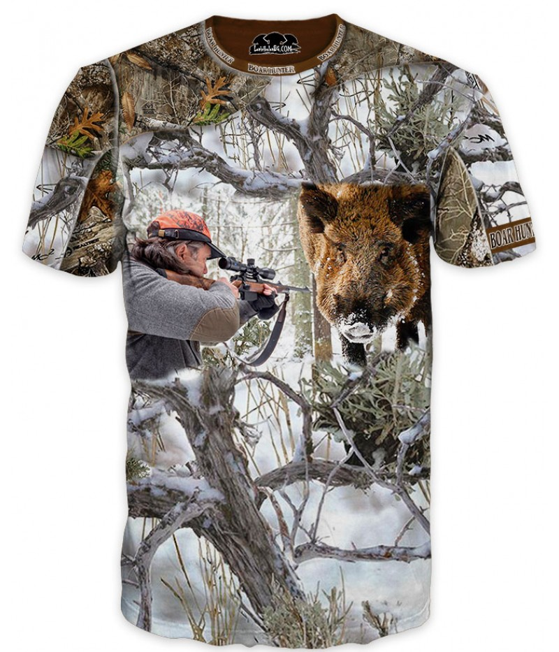 Мъжка камуфлажна тениска с ловец и глиган