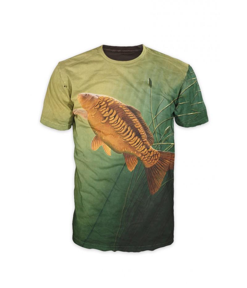 Риболовна тениска с шаран със стръв-зелена