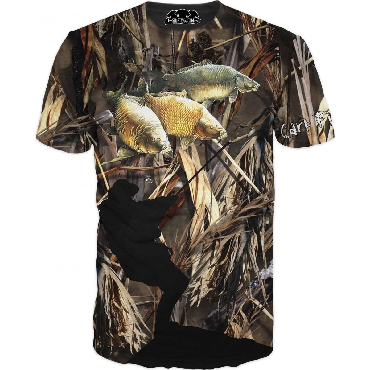 Риболовна тениска - три шарана в камуфлаж
