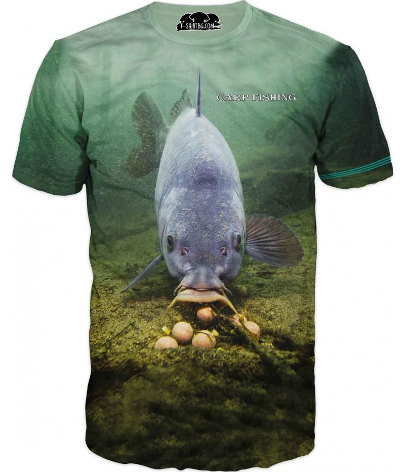 Риболовна тениска с шаран на дъно