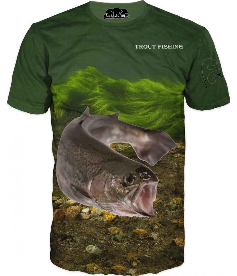 Риболовна тениска на пъстърва - морско дъно