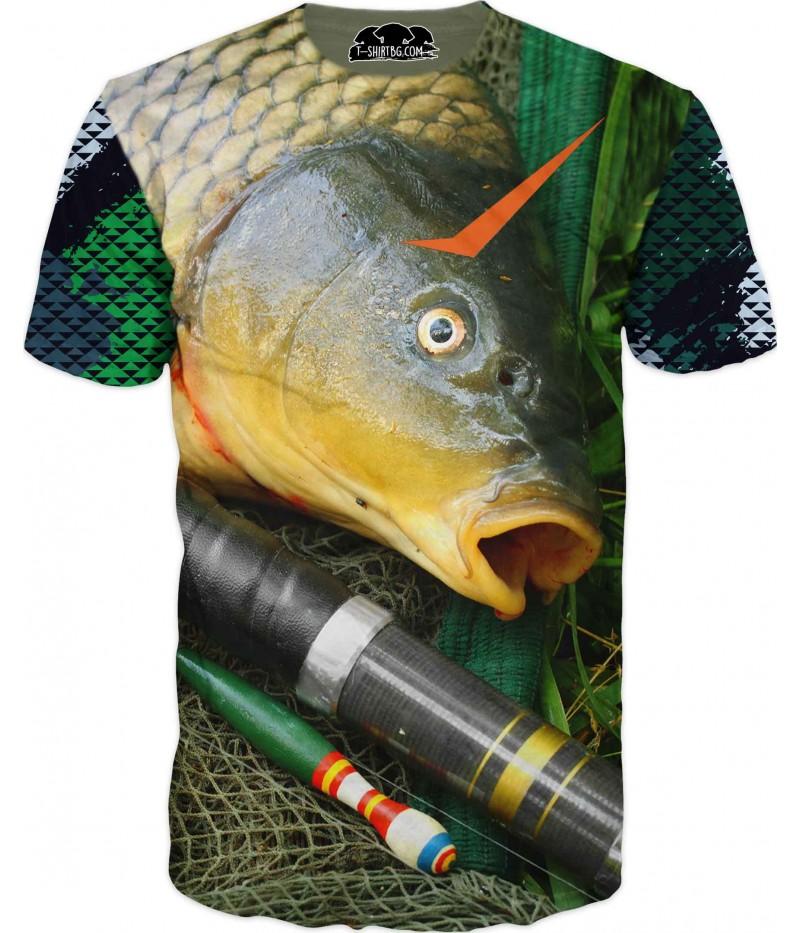 Риболовна тениска - риба в мрежа