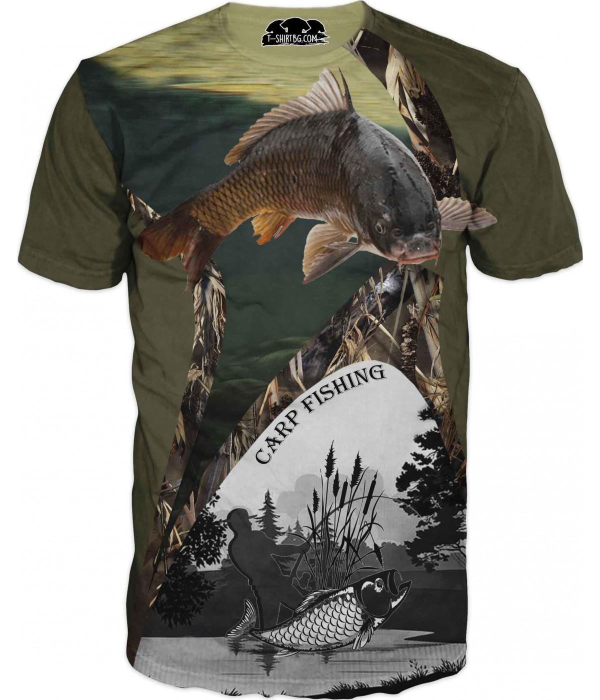 Риболовна тениска с шаран и камуфлаж