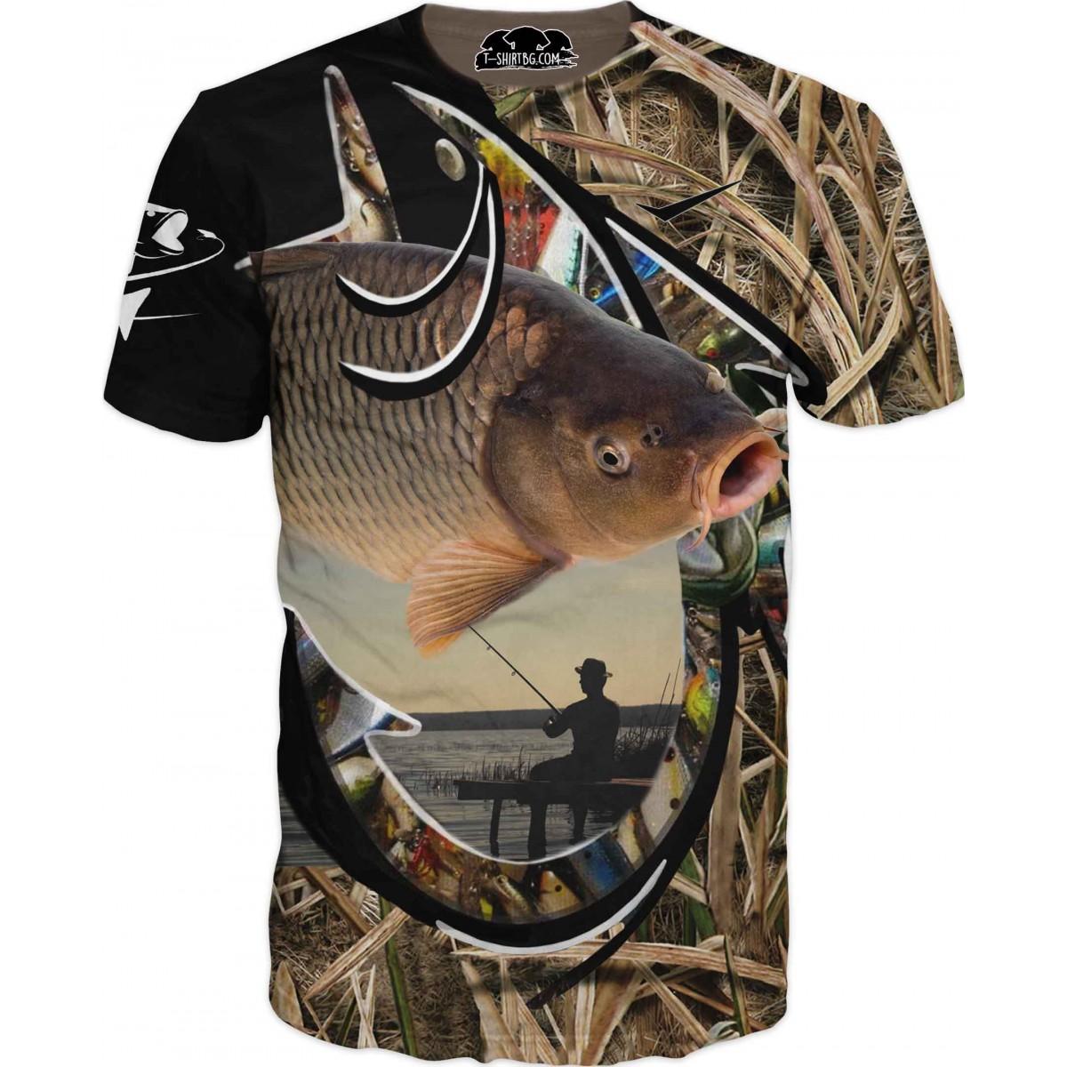 Риболовна тениска риба в камуфлаж