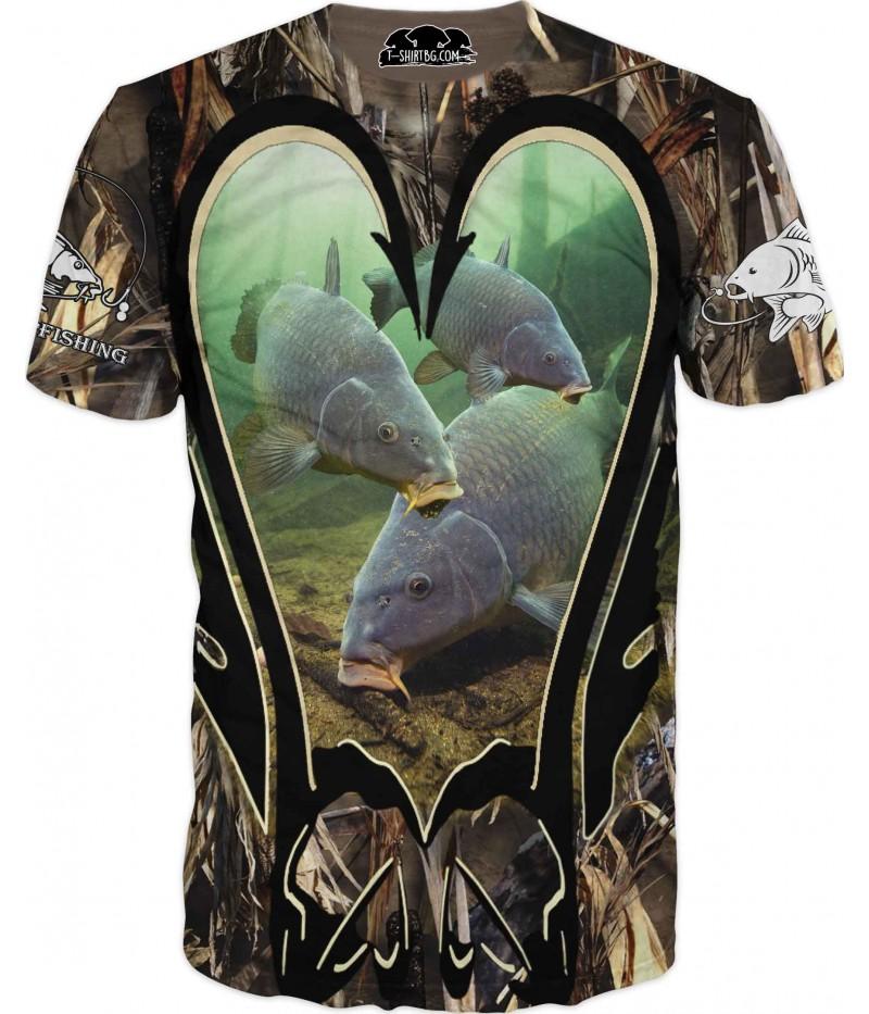 Риболовна тениска - три шарана с камуфлаж