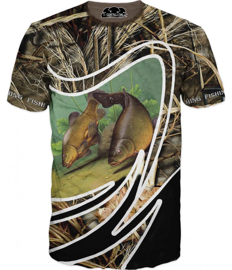 Риболовна тениска - две риби и тръстика