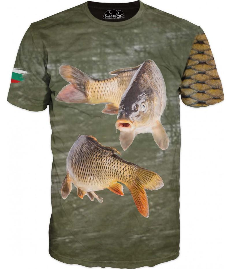 Удивителна тениска с две риби - знаме