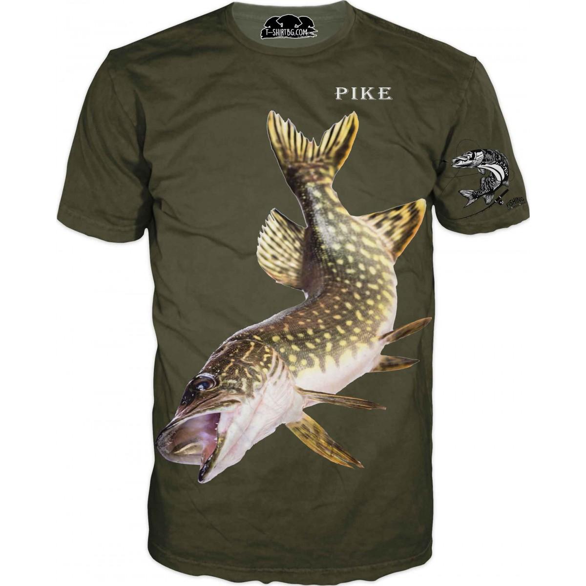 Риболовна тениска с щука - зелена