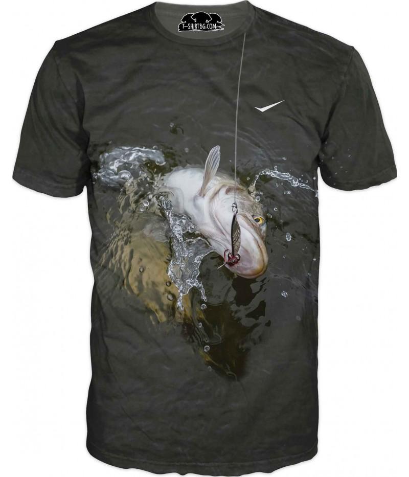 Риболовна тениска - голяма риба - улов