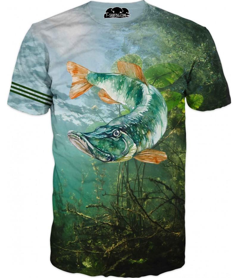 Риболовна тениска с изрусувана щука