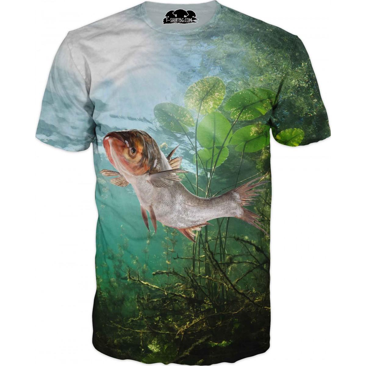 Риболовна тениска с изрисувана риба на дъно