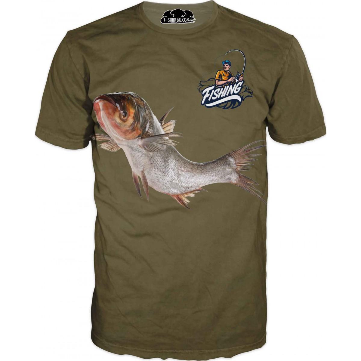 Риболовна тениска с изрисувана риба в зелено